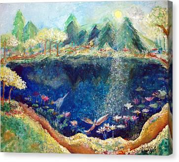 Lotus Lake Canvas Print by Ashleigh Dyan Bayer