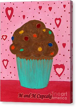 M And M Cupcake Canvas Print by Barbara Griffin