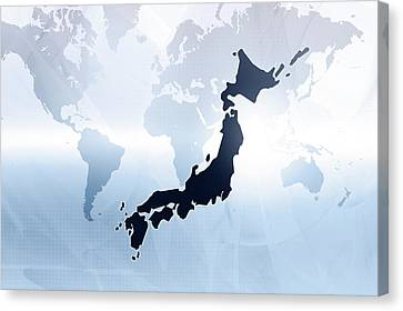 Map Of Japan Canvas Print by Maciej Frolow