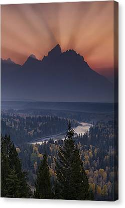 Mountain Sunset Canvas Print by Andrew Soundarajan