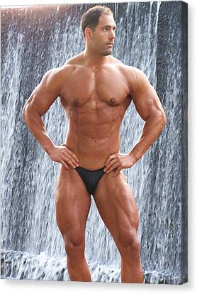 Muscleart Marius Waterfall And Muscle Canvas Print by Jake Hartz