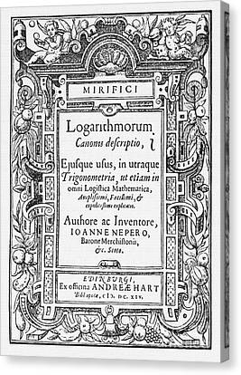Napiers Treatise On Logarithms Canvas Print by Photo Researchers