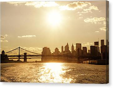 New York City Sunset Canvas Print by Vivienne Gucwa