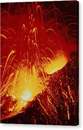 Night View Of Eruption Of Alaid Volcano, Cis Canvas Print by Ria Novosti