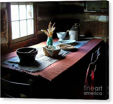 Old Cabin Table Canvas Print by Julie Dant