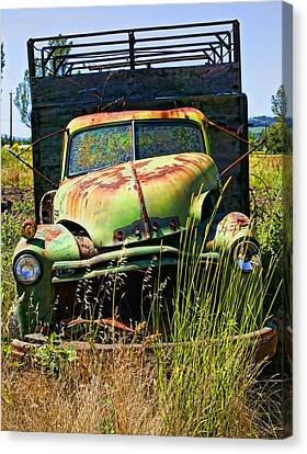 Old Green Truck Canvas Print by Garry Gay
