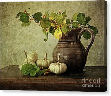 Old Pitcher With Gourds Canvas Print by Sandra Cunningham
