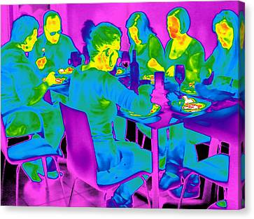 People Sitting At A Table, Thermogram Canvas Print by Tony Mcconnell