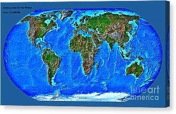 Physical Map Of The World Canvas Print by Theodora Brown