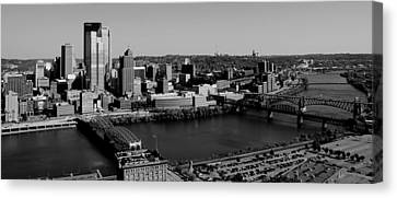 Pittsburgh In Black And White Canvas Print by Michelle Joseph-Long