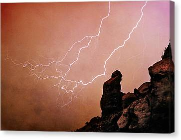 Praying Monk Camelback Mountain Lightning Monsoon Storm Image Tx Canvas Print by James BO  Insogna