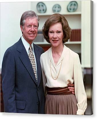 President Jimmy Carter And Rosalynn Canvas Print by Everett