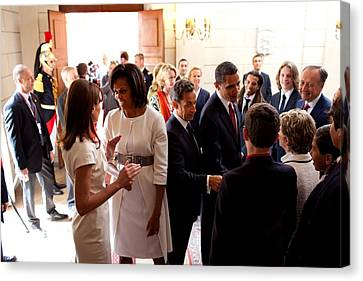 President Obama And French President Canvas Print by Everett