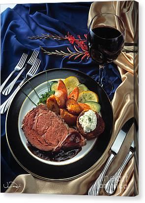 Prime Rib Dinner Canvas Print by Vance Fox