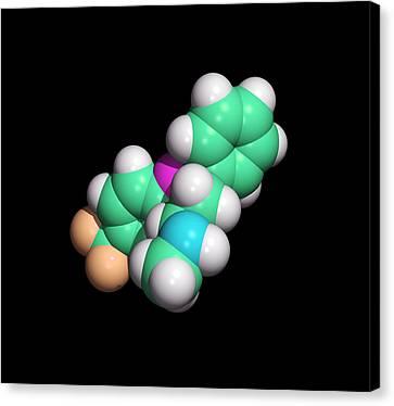 Prozac Antidepressant Drug Molecule Canvas Print by Dr Tim Evans