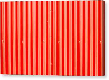 Red Corrugated Metal Canvas Print by Tom Gowanlock