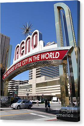 Reno . The Biggest Little City In The World Canvas Print by Wingsdomain Art and Photography