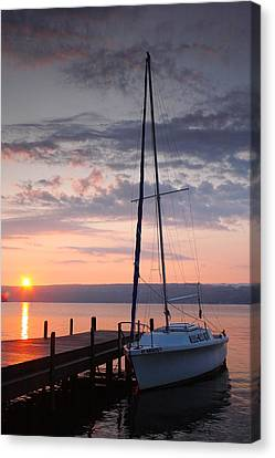 Sailboat And Lake II Canvas Print by Steven Ainsworth