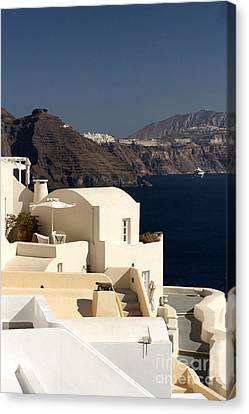 Santorini View Canvas Print by Leslie Leda
