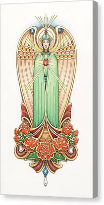 Scroll Angel - Roselind Canvas Print by Amy S Turner