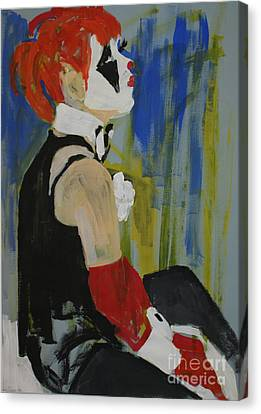 Seated Lady Clown Canvas Print by Joanne Claxton