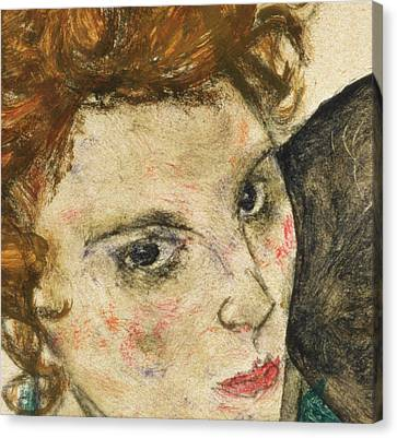 Seated Woman With Bent Knee Canvas Print by Egon Schiele