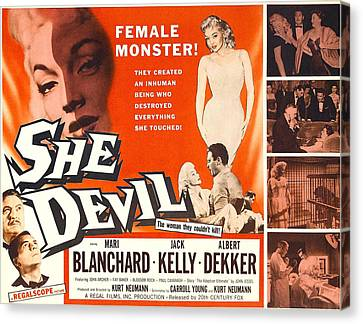 She Devil, Blonde Woman Featured Canvas Print by Everett
