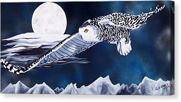 Snowy Flight Canvas Print by Debbie LaFrance