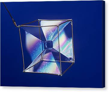 Soap Films On A Cube Canvas Print by Andrew Lambert Photography