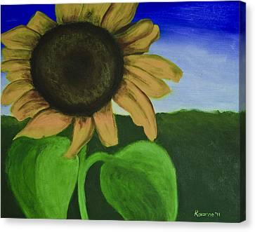 Solo Sunflower Canvas Print by Roxanne Weber