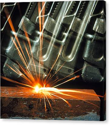 Sparks From A Thermite Reaction Canvas Print by Crown Copyrighthealth & Safety Laboratory