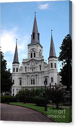 St Louis Cathedral Jackson Square French Quarter New Orleans Accented Edges Digital Art  Canvas Print by Shawn O'Brien