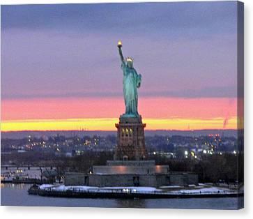 Statue Of Liberty At Sunset Canvas Print by Mircea Veleanu