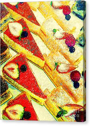 Strawberry Cakes Canvas Print by Wingsdomain Art and Photography
