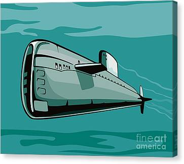 Submarine Boat Retro Canvas Print by Aloysius Patrimonio