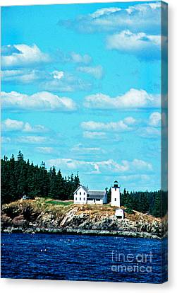 Swans Island Lighthouse Canvas Print by Thomas R Fletcher