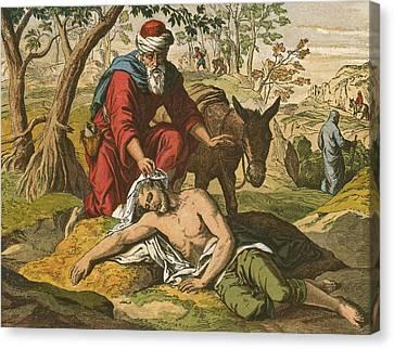 The Good Samaritan Canvas Print by English School
