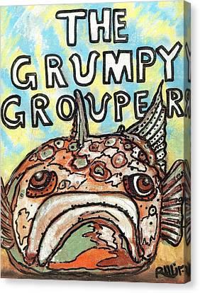 The Grumpy Grouper Canvas Print by Robert Wolverton Jr