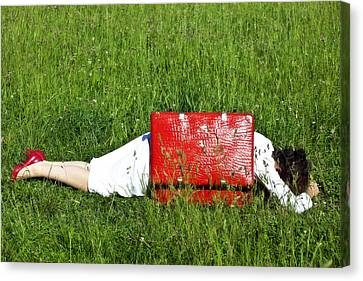The Red Suitcase Canvas Print by Joana Kruse