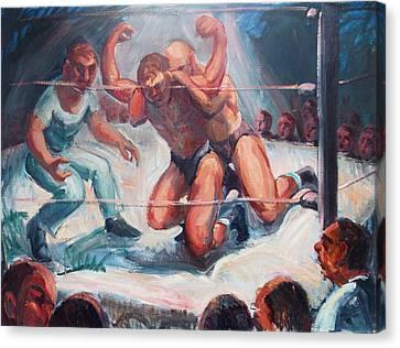 The Wrestling Match In Color Canvas Print by Bill Joseph  Markowski