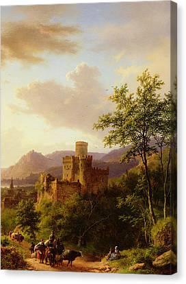 Travellers On A Path In An Extensive Rhineland Landscape Canvas Print by Barend Cornelis Koekkoek