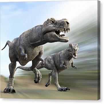 Tyrannosaurus Rex Dinosaurs Canvas Print by Roger Harris