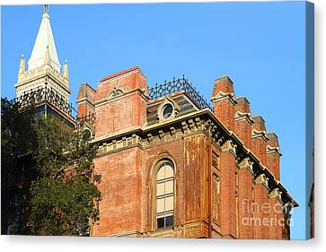 Uc Berkeley . South Hall . Oldest Building At Uc Berkeley . Built 1873 . The Campanile In The Back Canvas Print by Wingsdomain Art and Photography