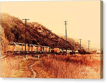 Union Pacific Locomotive Trains . 7d10558 Canvas Print by Wingsdomain Art and Photography