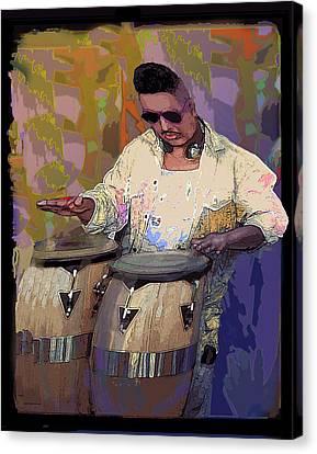 Venice Beach Drummer Canvas Print by Alice Ramirez