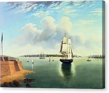 View Of New York From Bedloes Island Canvas Print by Joseph B Pringle