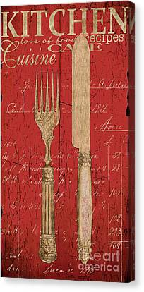 Vintage Kitchen Utensils In Red Canvas Print by Grace Pullen