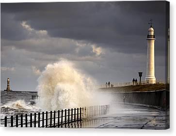 Waves Crashing, Sunderland, Tyne And Canvas Print by John Short