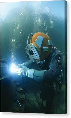 Welding Underwater Canvas Print by Alexis Rosenfeld