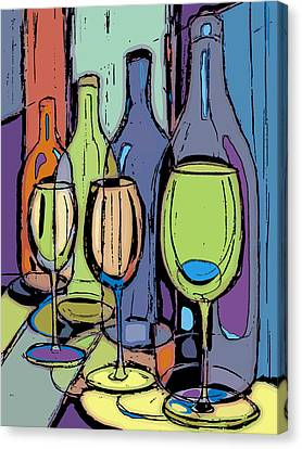 Wine Bottles And Glasses IIi Canvas Print by Peggy Wilson